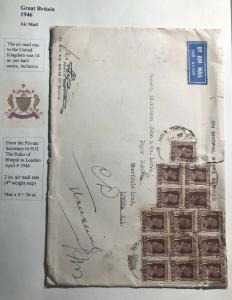 1946 Bhopal India State Service Official Airmail Cover To London England