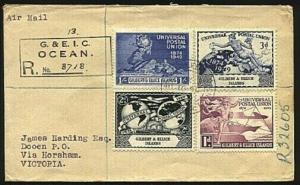 GILBERT & ELLICE IS 1949 UPU set on small registered FDC to Australia......99469