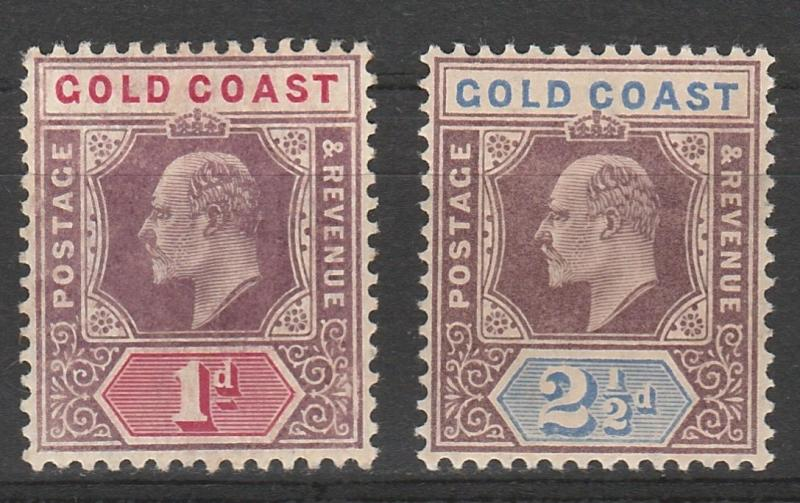 GOLD COAST 1904 KEVII 1D AND 21/2D WMK MULTI CROWN CA