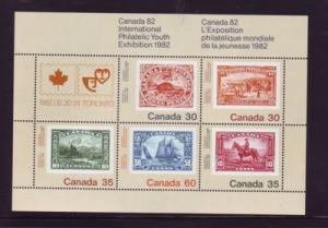 Canada Sc  913a 1982 Youth Stamp Exhibition stamp sheet mint NH