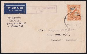 NEW GUINEA 1945 Airmail cover On Active Service RAAF RARE!