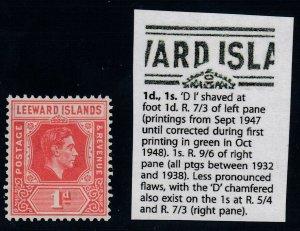 Leeward Islands, SG 99a, MNH D I Flaw variety