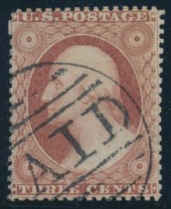 #25 3c 1857 F-VF USED CV $175 AU699