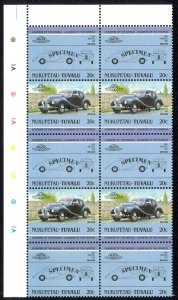 Tuvalu Nukufetau Sc# 5 MNH Blocks/10 SPECIMEN 1984-1985 20c Automobiles