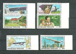 Togo Imperf. International Flights 6v Scott 957-58, C312-15 MNH