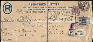 NIGERIA 1929 uprated 3d registered envelope Lagos to USA............18279