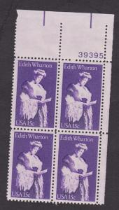 1832 Edith Wharton MNH Plate Block UR