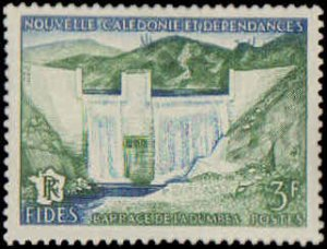 New Caledonia #303, Complete Set, 1956, Dams, Never Hinged