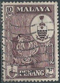 Malaya: Penang 61 (used) 10c tiger & state crest, choc (1960)