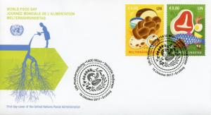 United Nations UN Vienna 2017 FDC World Food Day 2v Set Cover Gastronomy Stamps