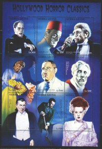 Sierra Leone. 1997. Small sheet 2872-80. Hollywood, horror movie characters. ...