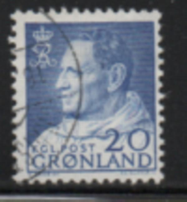 Greenland Sc 53 1963 20 ore ultra Frederik IX stamp used