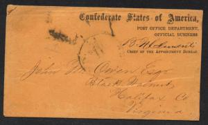 **CSA Stampless Cover APP-04 Post Office Official Business Clements, No Contents