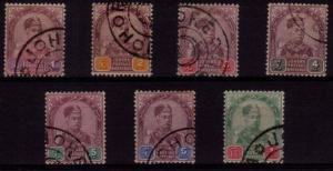 JOHORE MALAYA 1891 Sultan Aboubaker set fine used SG21-27..................48863