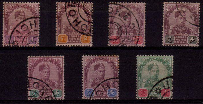 JOHORE MALAYA 1891 Sultan Aboubaker set fine used SG21-27..................48863