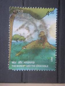 INDIA, 2001, used 4r, Monkey and the Crocodile, Scott 1920