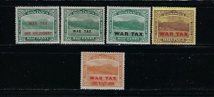 DOMINICA SCOTT #MR1-MR5 1916-19 COMPLETE WAR TAX MINT NEVER HINGED/ HINGED