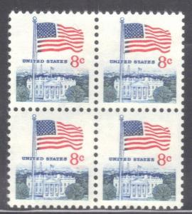 USA SC# 1338F **MNH** BLOCK   8c 1971   FLAG & WHITEHOUSE