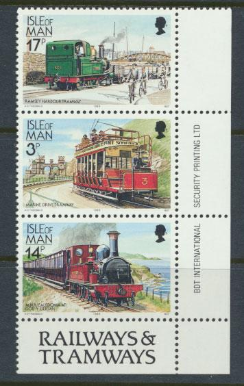 Isle of Man - SG 367b  SC# 356a  MUH Manx Railways -from booklet 17p, 3p and 14p