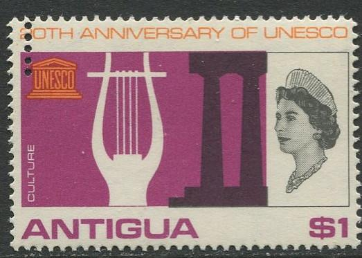 Antigua - Scott 185 - UNESCO -1966 - MNH - Perf. Error -Single $1  Stamp