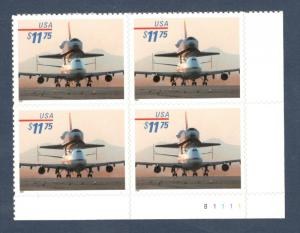 3262 Piggyback Space Shuttle Express Mail Plate Block Mint/nh FREE  SHIPPING