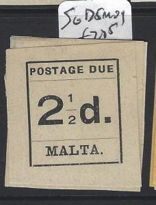 MALTA (P0606B) POSTAGE DUE 2 1/2D     SG D 5   MOG
