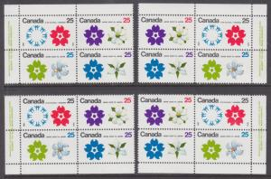 Canada Sc 508-511b MNH. 1970 Expo '70, Matched Tagged & Untagged Plate Blocks