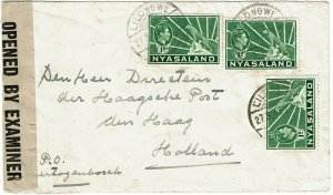 Nyasaland 1940 Lilongwe cancel on cover to the Netherlands, censored