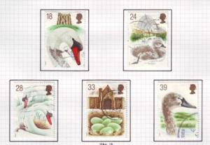 Great Britain  Sc 1473-7 1993 Mute Swan stamps used