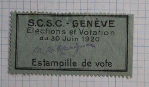 Switzerland voting stamp Geneva Election 1920 SCSC signed votation ticket DL