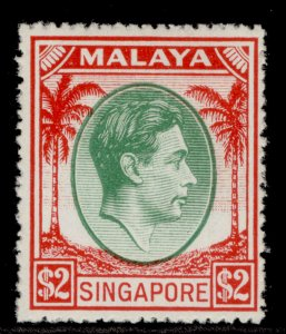 SINGAPORE GVI SG29, $2 green & scarlet, M MINT. Cat £90.