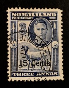 Somaliland Protectorate Scott 118 15 Cent Overprint-Used
