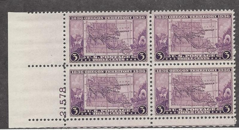 United States, 783, 3c Oregon Terr. Plate Block of 4 Plt#:  21578 LL, *MNH*