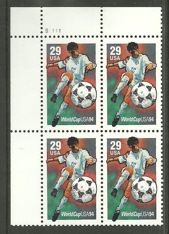 #2834 World Cup Plate Block Mint NH