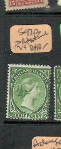 FALKLAND ISLANDS  (PP1106BB)  QV  1/2D  SG 17B  SPLIT  WMK   MOG