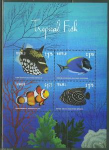 TUVALU 2015 TROPICAL FISH  I  SHEET   MINT NH