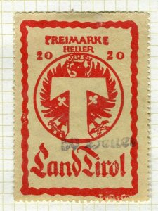 AUSTRIA; 1920s-30s early LAND TIROL issue fine used 20h. value