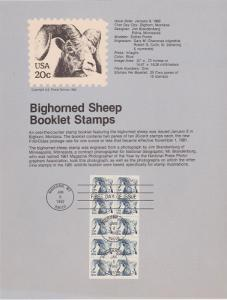 US SP573 Bighorned Sheep booklet pane Souvenir Page #1949a