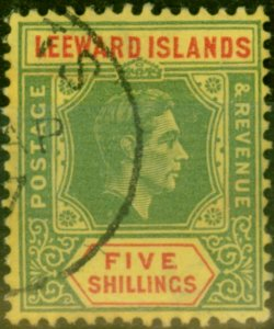 Leeward Islands 1938 5s Green & Red-Yellow SG112 Fine Used