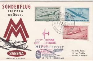 DDR 1956 Special Flight Leipzig-Brussels Sabena Slogan Stamps Cover Ref 26595
