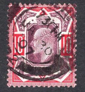 Great Britain  #137  1902  used Edward VII  10d purple and red
