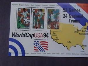 U.S.# 2837--MINT/NH--SOUVENIR SHEET OF 3 --SOCCER/WORLD CUP-USA---1994