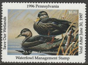 U.S.-PENNSYLVANIA 14, STATE DUCK HUNTING PERMIT STAMP. MINT, NH. VF