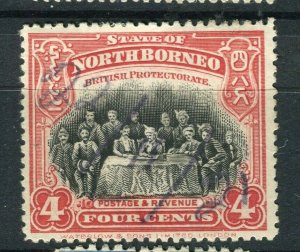 NORTH BORNEO; 1925 early pictorial issue fine used 4c. value