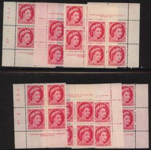 Canada - #339 Mint F+VF NH USC Cat. $12.60 1954 3c QE Wilding Plate 1&2 Blocks
