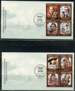 MARSHALL ISLANDS 2008 PORTRAITS OF THE WILD WEST ON FOUR FIRST DAY COVERS