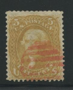 1861 US Stamp #67 5c Used F/VF Red Grid Cancel Catalogue Value $875 Cert sm flts