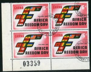 GHANA - #76 - USED PLATE BLOCK OF 4 -1960 - GHANA016