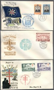 PHILIPPINES: Eight 1958 FIRST DAY Covers; Luna Republic, TB,University Cathedral