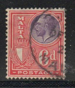 Malta Sc 140 1926 6d red & violet G V stamp used